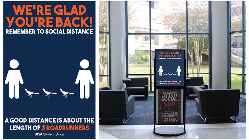 Honorable Mention: 3 Roadrunners - Social Distance Poster; University of Texas–San Antonio
