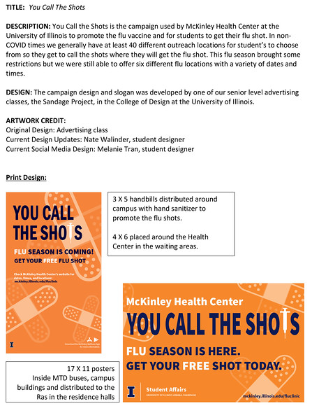 Third: You Call The Shots: Flu Shot Campaign; University of Illinois