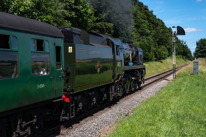 """34052 """"Lord Dowding"""" climbs away from Ropley with the 13:15 Alresford - Alton, <br /> on 2nd July 2017."""