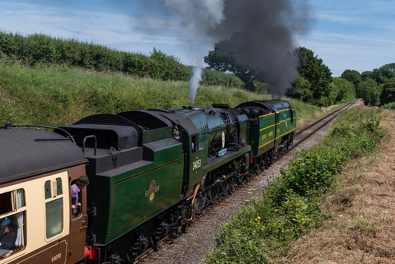 """34081 """"92 Squadron"""" and 34053 """"Sir Keith Park"""" approaching Bluebell Crossing <br /> with the 12:13 Alresford - Alton, on 7th July 2017."""