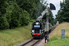 """35006 """"Peninsular & Oriental SN Co"""" pauses at the Ropley Down Outer Home signal <br /> with the 13:40 Alton - Alresford, on 1st July 2017."""