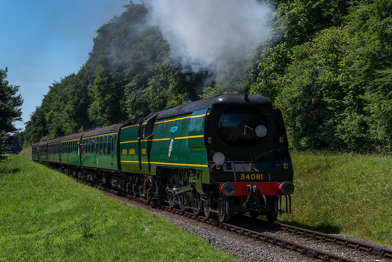 """34081 """"92 Squadron"""" climbs away from Ropley with the 12:25 Alresford - Alton, <br /> on 2nd July 2017."""