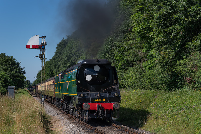 """34081 """"92 Squadron"""" at Milepost 56 with the 09:50 Alresford - Alton, on 9th July 2017."""