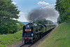 """34053 """"Sir Keith Park"""" with load 8, climbs away from Ropley with the 15:20 Alresford - Alton, non-stop special working, on 8th July 2017."""