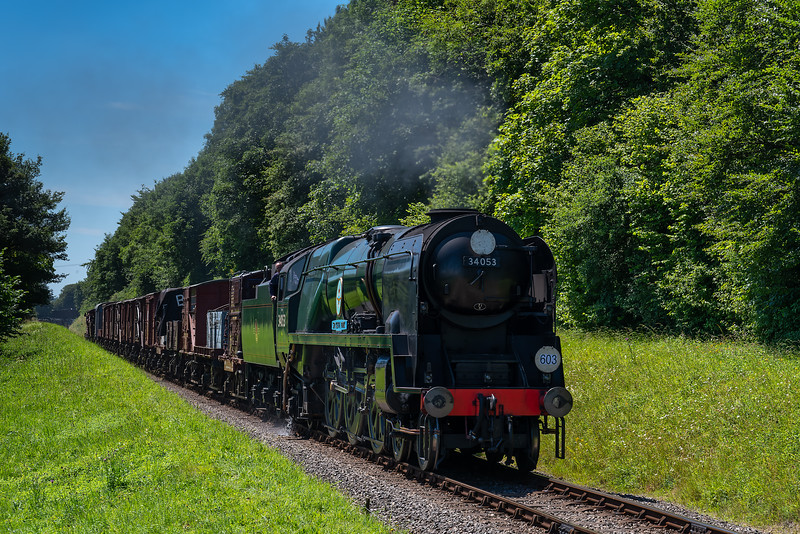 """34053 """"Sir Keith Park"""" climbs away from Ropley with the 13:04 Alresford - Alton Freight, <br /> on 2nd July 2017."""