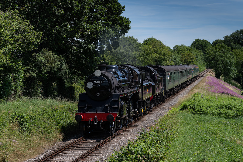 Std 4 No. 76017 and Ivatt No. 41312 at Bluebell Crossing with the 11:50 Alton - Alresford, <br /> on 7th July 2017.