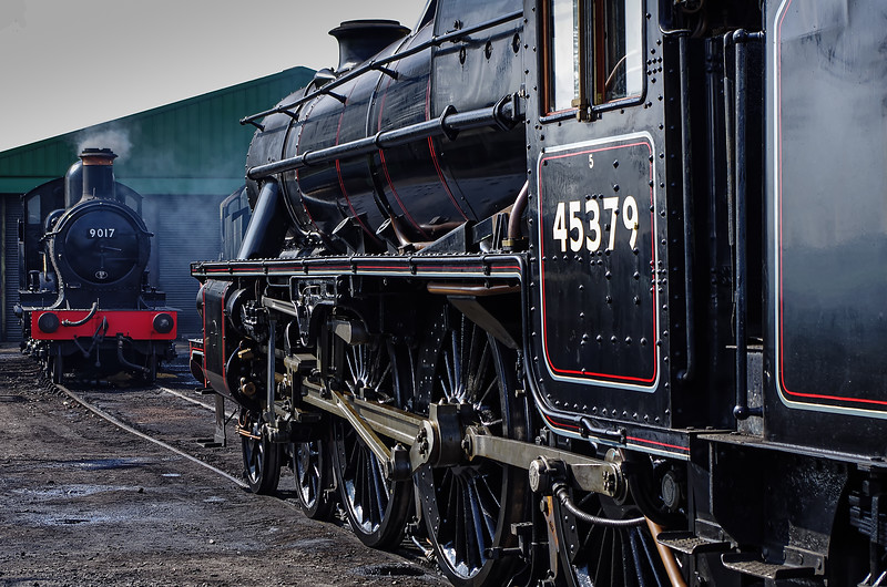 """Black Five 45379 and 9017 """"Earl of Berkeley"""" in the yard at Ropley, the day before the Gala, <br /> 24th March 2011."""