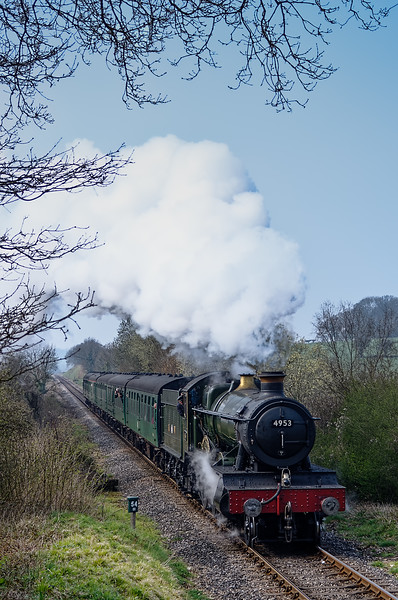 """4953 """"Pitchford Hall"""" passes Milepost 54 1/2 with the 11:15 Alresford - Alton, <br /> on 27th March 2011."""