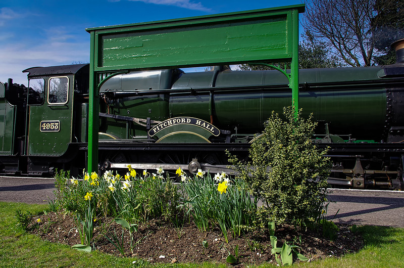 """4953 """"Pitchford Hall""""  in Ropley station the day before the Gala, 24th March 2011."""