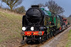 """850 """"Lord Nelson"""" at Bluebell Crossing with the 15:00 Alton - Alresford Steam Crane, <br /> on 27th March 2011."""