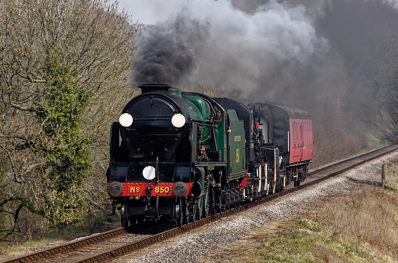 """850 """"Lord Nelson"""" at Bluebell Crossing with the 12:05 Alton - Alresford Breakdown Train, <br /> on 26th March 2011."""