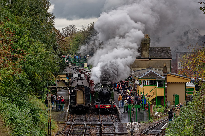 4270 blasts out of Alresford, with the 13:00 Freight service to Alton, on 24th October 2014.
