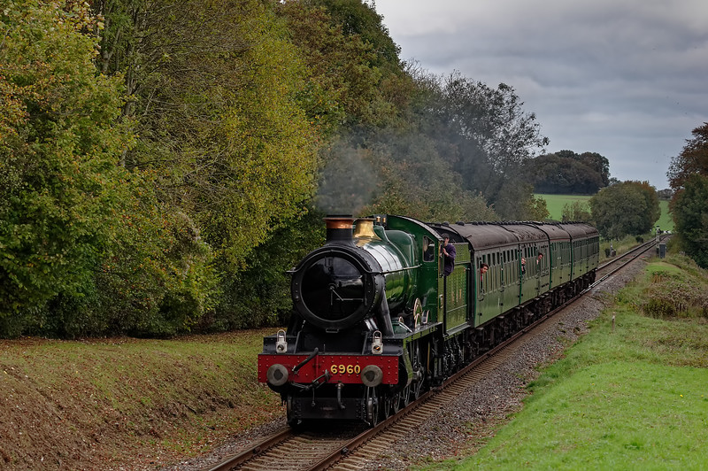 6960 at Stable Lane, with the 13:15 Alton - Alresford, on 26th October 2014.