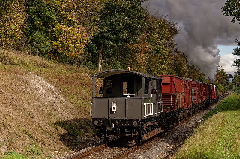 4270 going away, with the 13:00 Alresford - Alton Freight, on 25th October 2014.