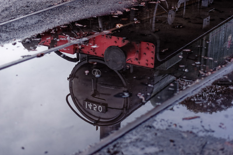 Reflection of 1450 in Ropley Yard, on 17th October 2014.