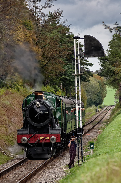 6960 at Ropley Down Outer Home signal, with the 13:15 Alton - Alresford, <br /> on 25th October 2014.
