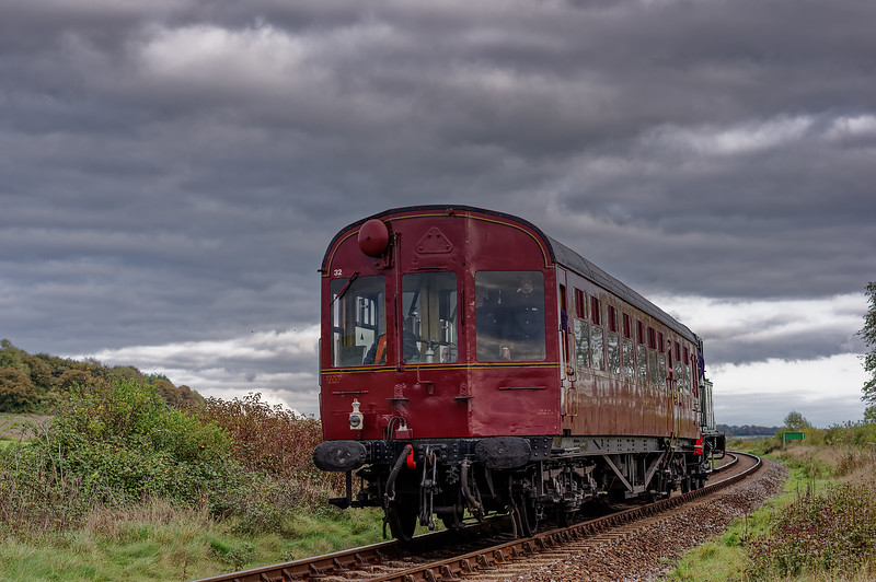 Autocoach W231 and 1450 at Northside Crossing, with the 15:00 Ropley - Alresford, <br /> on 26th October 2014.