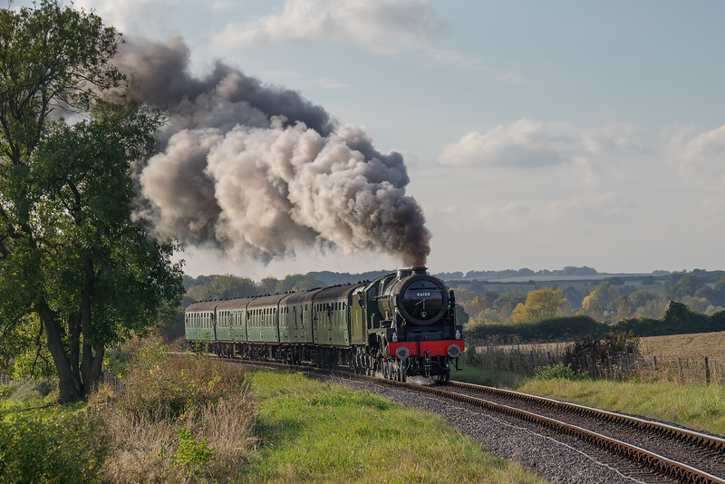 """LMS No. 46100 """"Royal Scot"""" on Black Barn Curve with the 16:00 Alresford - Alton, <br /> on 22nd October 2016."""