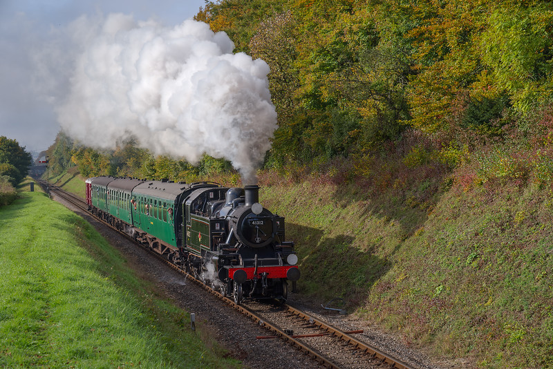 Ivatt No. 41312 at Milepost 56 with the 10:40 Alresford - Alton, on 22nd October 2016.