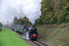 Ivatt class 4 No. 43106 passes the Ropley Down Outer Home signal <br /> with the 09:15 Ropley - Alton, on 21st October 2016.