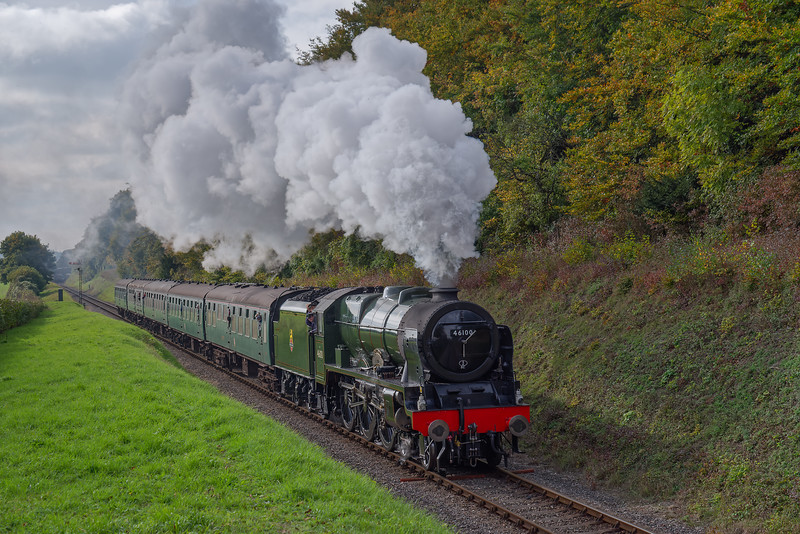 """LMS No. 46100 """"Royal Scot"""" passes Milepost 56 with the 13:00 Alresford - Alton, <br /> on 21st October 2016."""