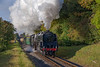 9F No. 92212 climbs away from Ropley with the 09:30 Alresford - Alton, <br /> on 22nd October 2016.