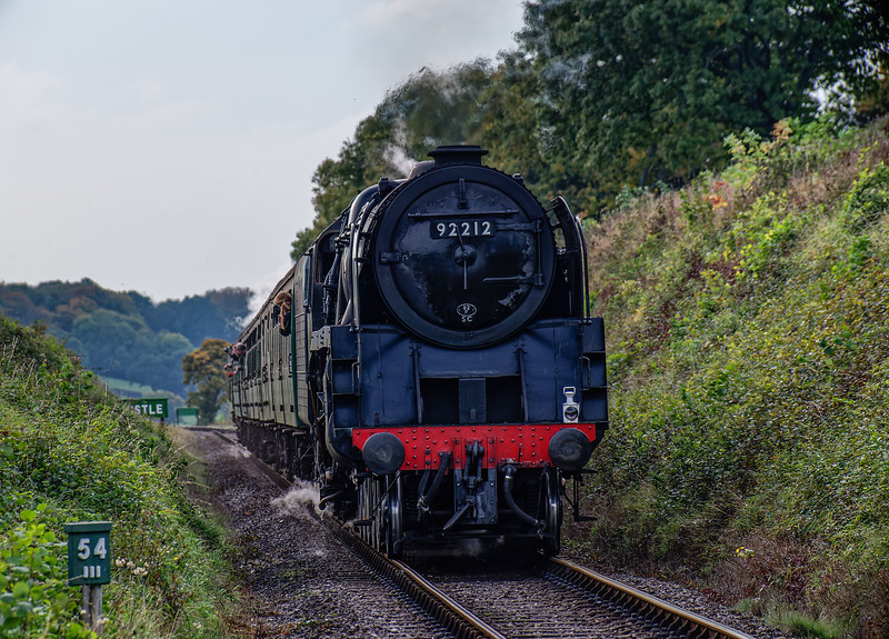 9F No. 92212 at Bluebell crossing on the rear of the 15:00 Alton - Alresford, <br /> on 23rd October 2016.