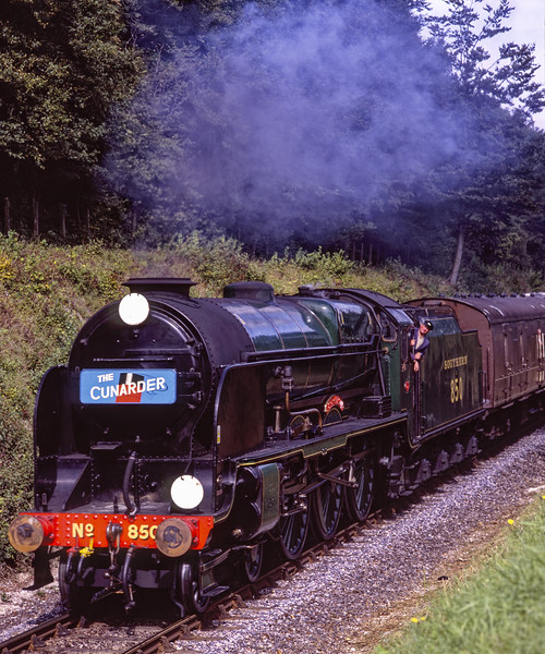 """850 """"Lord Nelson"""" passing through the pine trees, with the 13:51 Alton - Alresford, <br /> on 11th September 2009. Scanned Transparency."""
