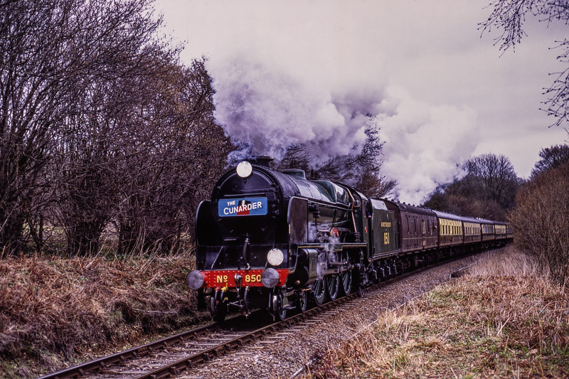 """850 """"Lord Nelson"""" at Reids Copse, with the 14:01 Alton - Alresford, on 13th March 2009. Scanned Transparency."""
