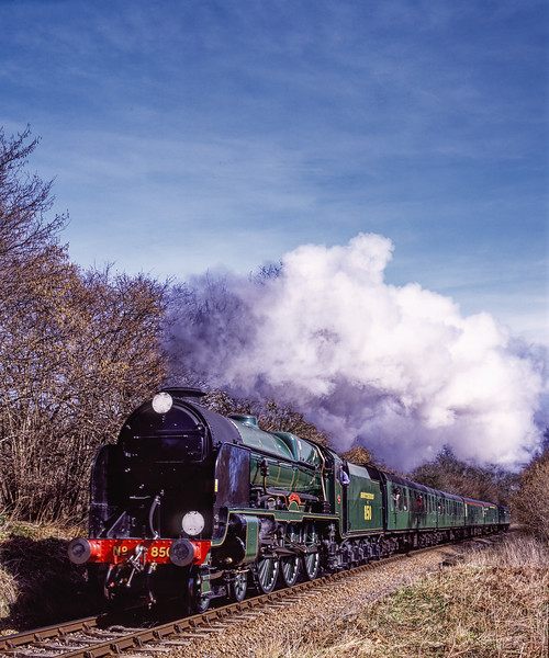 """850 """"Lord Nelson"""" at Reids Copse, with the 11:01 Alton - Alresford, on 15th March 2009.  Scanned Transparency."""