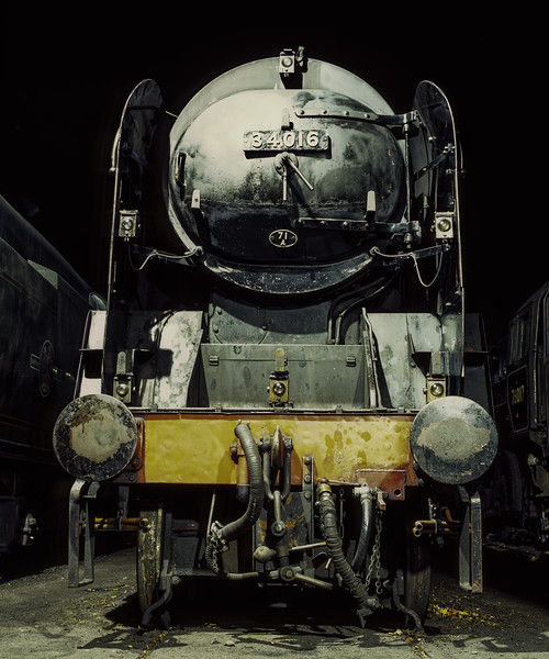"""WC No. 34016 """"Bodmin"""" under the lights in Ropley Yard, on 12th September 2009. <br /> Scanned Transparency."""
