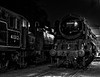 """Ivatt No. 41312 and MN No. 35005 """"Canadian Pacific""""under the lights in Ropley Yard, <br /> on 12th September 2009. Scanned Transparency."""