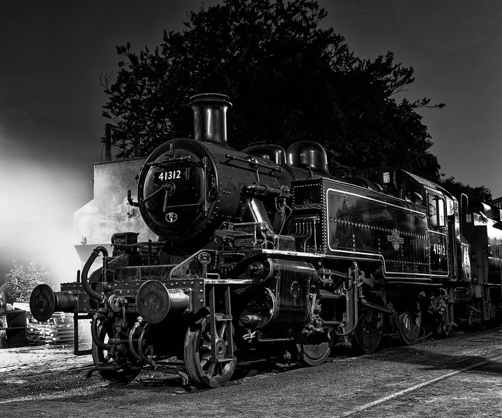 Ivatt No. 41312 under the lights in Ropley Yard, on 12th September 2009. <br /> Scanned Transparency.