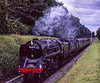 """9F No. 92212 and WC No. 34007 """"Wadebridge"""" pass Ropley Down Home signal, <br /> with the 14:51 Alton - Alresford, on 13th September 2009. Scanned Transparency."""