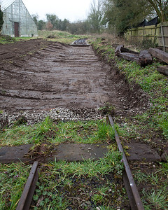 This section just past the glasshouse (on the Nursery Line) needed attention too - the track has been lifted and the track bed dug out with a mini digger
