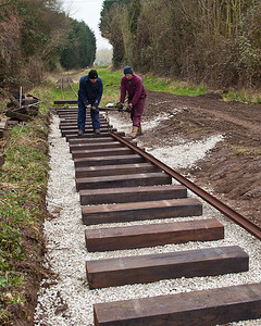 Dragging the rail into position
