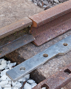 Where the new 35lb/yd rail joins the older 20lb/yd stock a custom fish plate is used - the older rail will be replaced at a later date