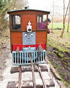 Toby the maintenance diesel shunting the wagon with the sleepers