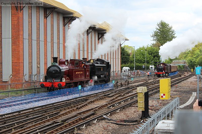 All three of the stars of the event captured together at Amersham as the Prairie brings in another train