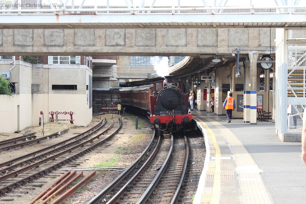 The train heads back toward Northfields depot