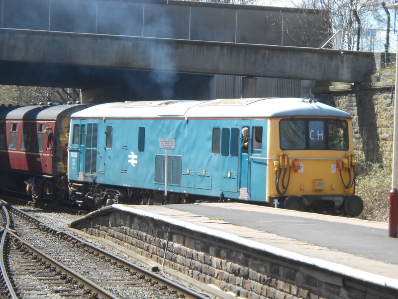 Class 73/0 <br /> <br /> 73 001 <br /> <br /> Arrives into Bury with the <br /> <br /> 12.25 from Heywood