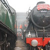 Left <br /> <br /> A4 Union of South Africa<br /> <br /> Right <br /> <br /> Flying Scotsman <br /> <br /> with smoke drifting between the two