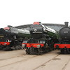 Left to right <br /> <br /> 60103 Flying Scotsman <br /> <br /> V2 4771 Green Arrow <br /> <br /> Q6 63395