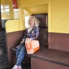 Taken using my Spare NIkon D90 that Liz uses <br /> <br /> Pic of Liz sitting in Brake Van waiting to go