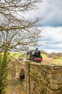 Oncoming steam train