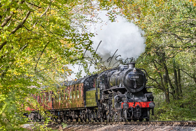 Steam train in autumn sunshine