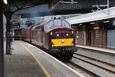 """A """"Deltic"""" pulls it into the station."""