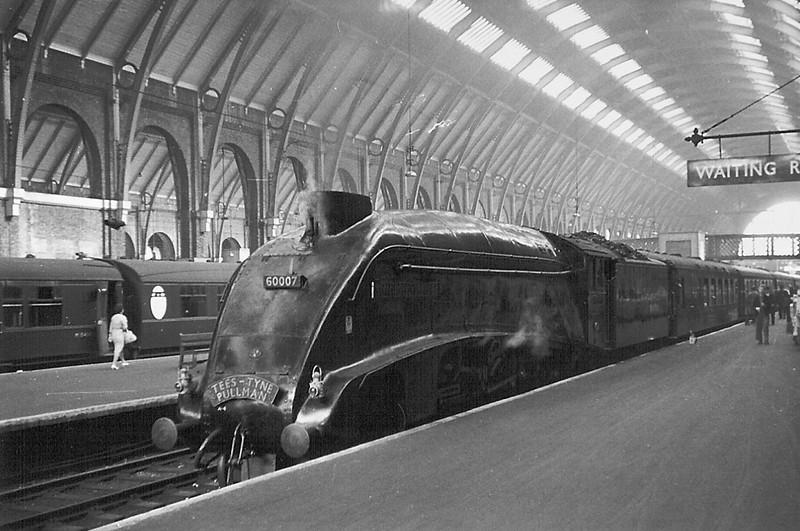 1962:  60007 Sir Nigel Gresley waits to depart from Kings Cross with the Tees Tyne Pulman