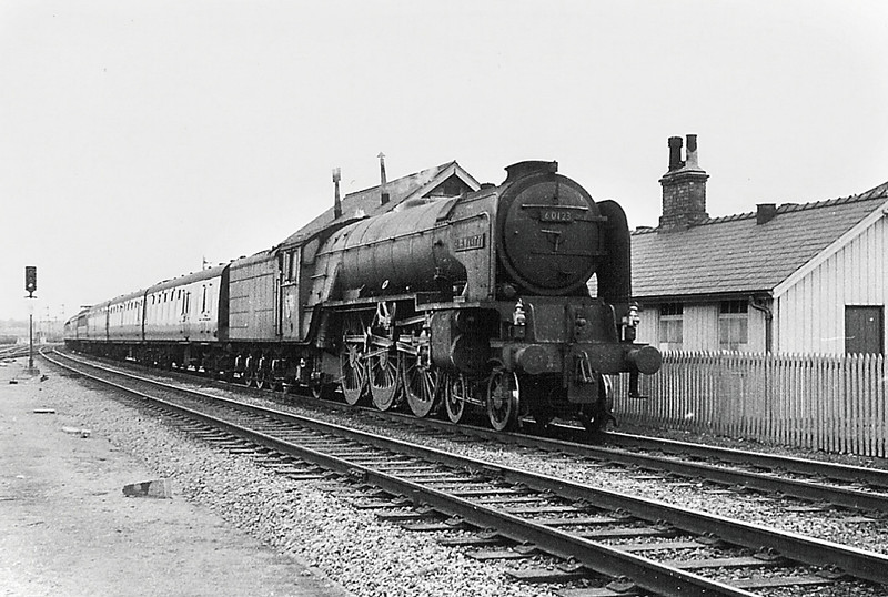 60123 'H A Ivatt'  charges through Finsbury Park in 1963