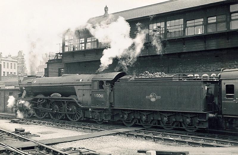 60061 Pretty Polly slips as it departs from Kings Cross